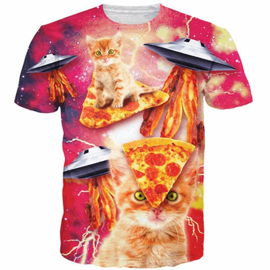 3D Cat Pizza T-shirt Cat Design T-Shirts Pet Clever