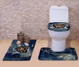 3D Cat Print Padded Bathroom Set Covers Home Decor Cats Pet Clever