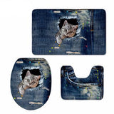 3D Cat Print Padded Bathroom Set Covers Home Decor Cats Pet Clever 3