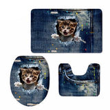 3D Cat Print Padded Bathroom Set Covers Home Decor Cats Pet Clever 4