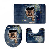 3D Cat Print Padded Bathroom Set Covers Home Decor Cats Pet Clever 2