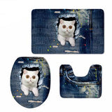 3D Cat Print Padded Bathroom Set Covers Home Decor Cats Pet Clever 1