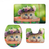 3D Cat Print Soft & Warmer Bathroom Carpeted Set Home Decor Cats Pet Clever 5