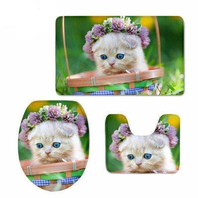 3D Cat Print Soft & Warmer Bathroom Carpeted Set Home Decor Cats Pet Clever 1