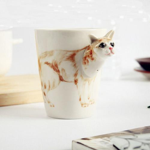 3D Ceramic Burmese Cat Drinking Cup Mug Cat Design Mugs Pet Clever
