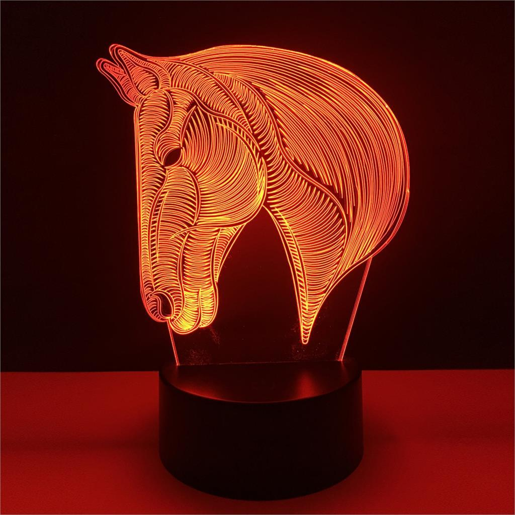 3D Horse Head LED Night Light Other Pets Design Accessories Pet Clever