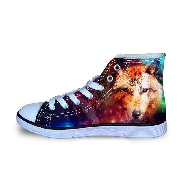 3D Wolf Printed Women Canvas Lace Up Shoes Dog Design Footwear Pet Clever 1