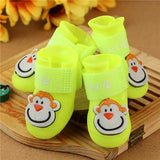 4 Pcs/Set Pet Adorable Monkey Design Rain Boots Shoes Pet Clever Yellow S
