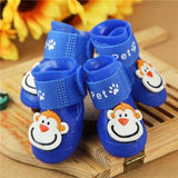 4 Pcs/Set Pet Adorable Monkey Design Rain Boots Shoes Pet Clever Blue S