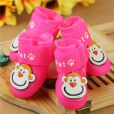 4 Pcs/Set Pet Adorable Monkey Design Rain Boots Shoes Pet Clever Pink S