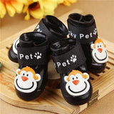 4 Pcs/Set Pet Adorable Monkey Design Rain Boots Shoes Pet Clever Black S