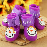 4 Pcs/Set Pet Adorable Monkey Design Rain Boots Shoes Pet Clever Purple S