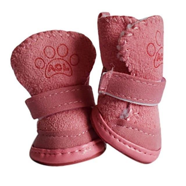 4Pcs Pet Clever Winter Warm Snow Pet Sneaker Boots Shoes Pet Clever Pink S
