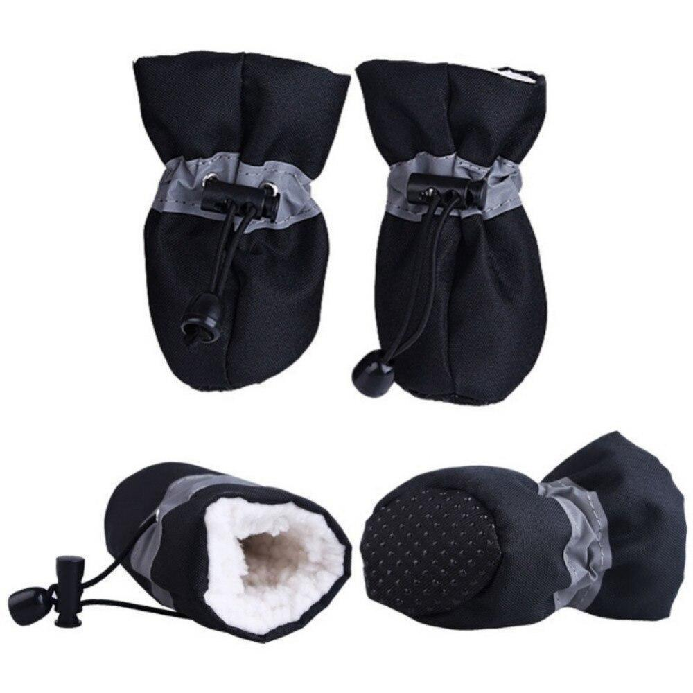 4pcs Pet Dog Anti-Skid Rain Shoes Dog Clothing Pet Clever Black XS
