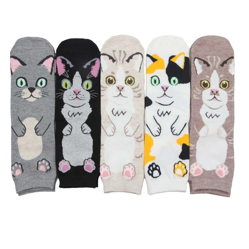 5 Pairs Funny Cat Style Socks Cat Design Accessories Pet Clever