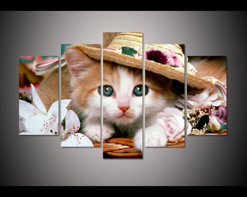 5 Panels HD Lovely Cat Wall Painting Canvas Home Decor Cats Pet Clever Medium size Unframed