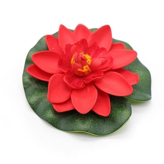 5pcs Artificial Lotus Water Lily Floating Flower Fish Pond Decorations Pet Clever red