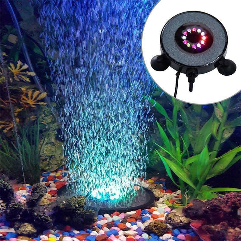 7 Colors Waterproof LED Aquarium Lights Bubble Aeration Disc Lightings Pet Clever