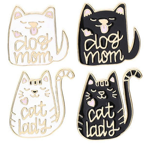 Adorable Dog Mom and Cat Lady Brooches Cat Design Accessories Pet Clever