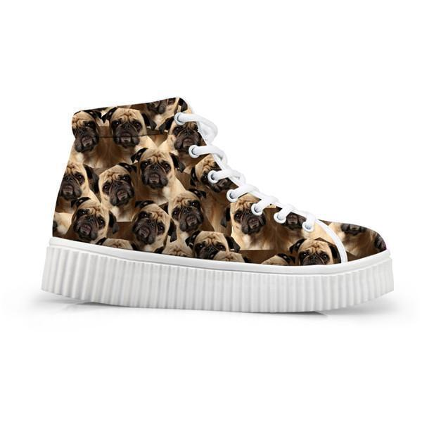 Adorable Dog Print Flat Platform Creepers Shoes Dog Design Footwear Pet Clever 1 5