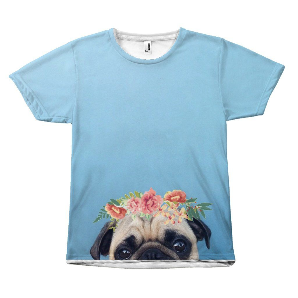 Adorable Floral Pug Head Blue Background Design T-Shirt All Over Print teelaunch Pug Eyes S
