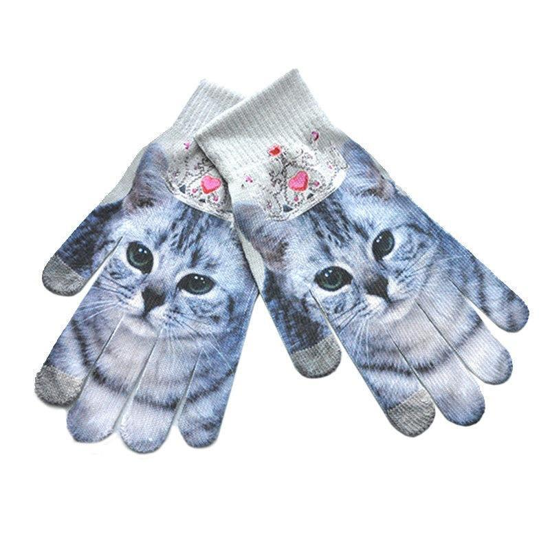 Adorable Touch Screen Winter Gloves for Smart Phones Cat Design Accessories Pet Clever Cat