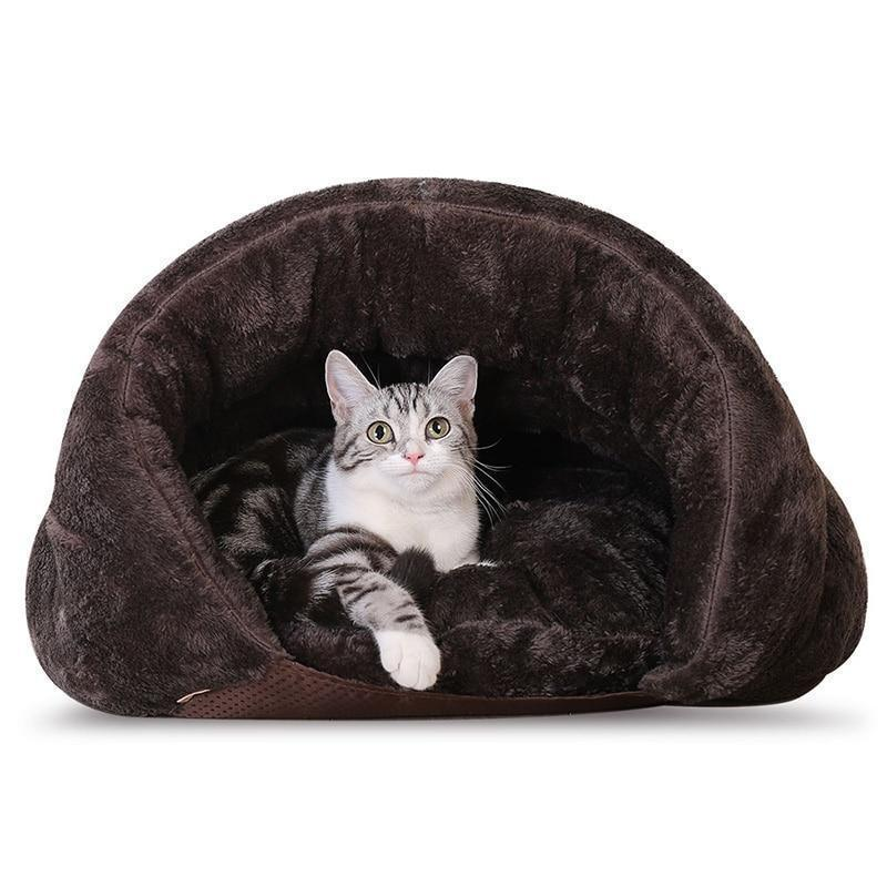 Adorable Warm Half Deck Pet Sleeping Bed Cat Beds & Baskets Pet Clever Brown Small