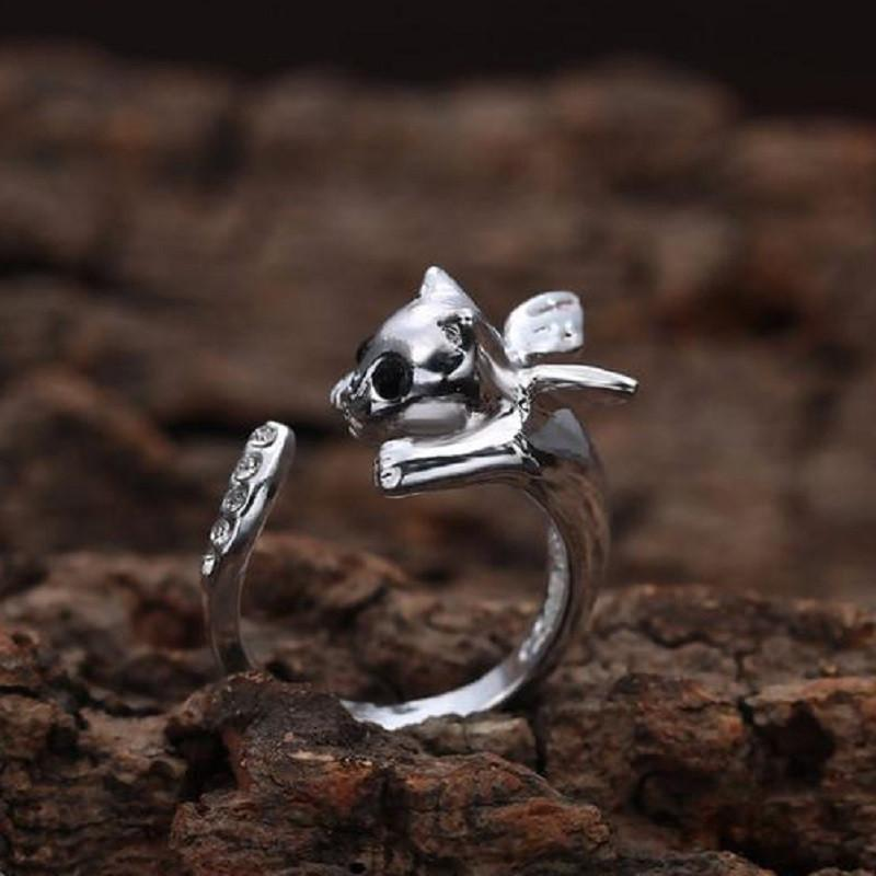 Angel Wing Cat Ring Cat Design Jewelry Pet Clever Silver