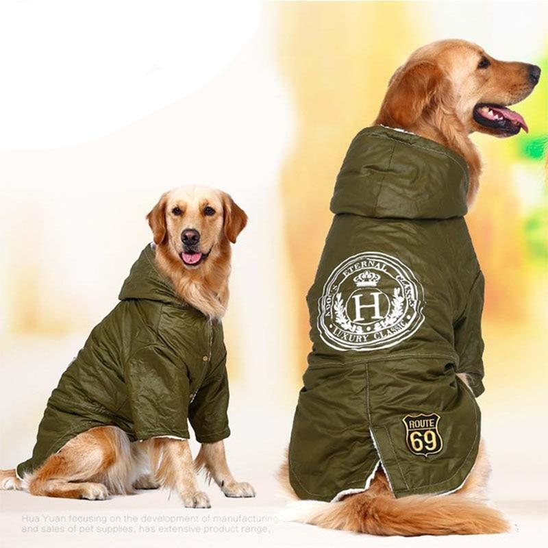 Army Green Cotton Padded Jacket Coat for Pets Clothes Pet Clever