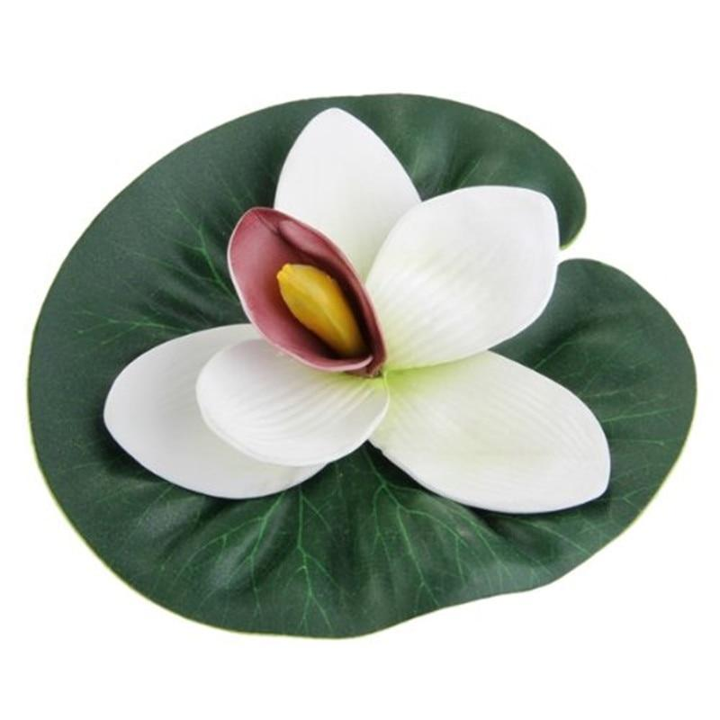 Artificial Floating White Lotus Pond Pool Decoration Fish Pond Decorations Pet Clever