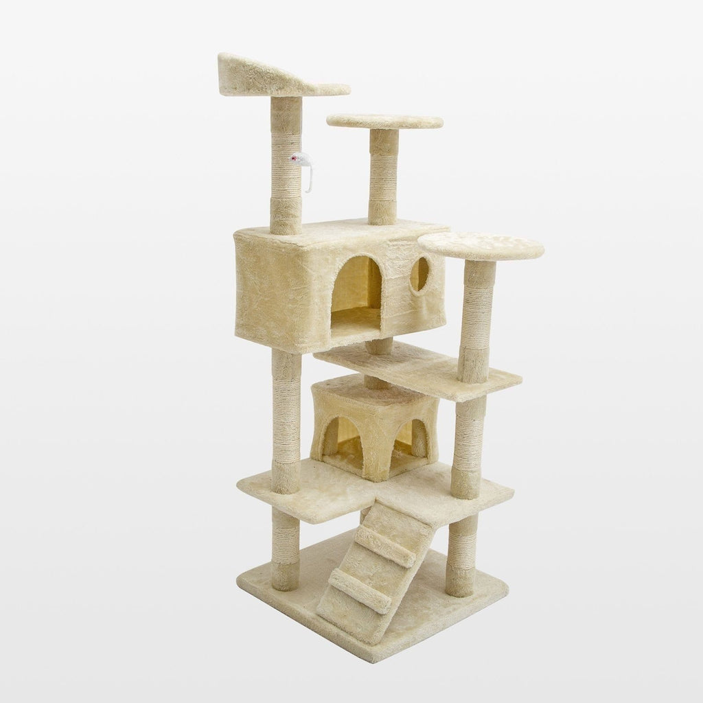 Beige Cat Scratching Tree Post Play Cat Trees & Scratching Posts Pet Clever
