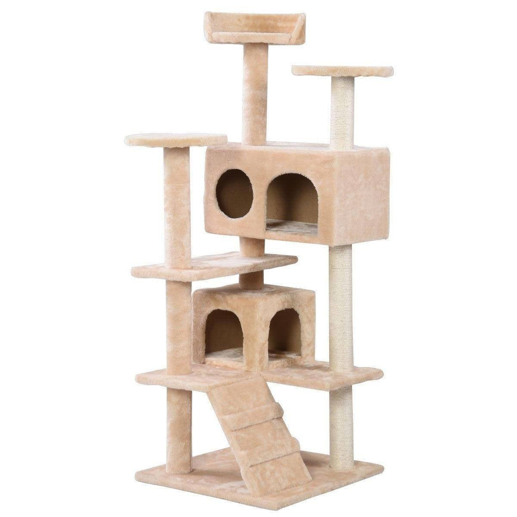 Beige Cat Tree Tower Condo Furniture Scratch Post Cat Trees & Scratching Posts Pet Clever