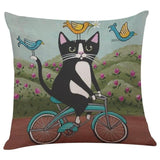 Biker Cat Pillow Case Cushion Cover  Cat Design Pillows Pet Clever H