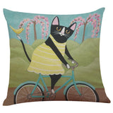 Biker Cat Pillow Case Cushion Cover  Cat Design Pillows Pet Clever