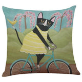 Biker Cat Pillow Case Cushion Cover  Cat Design Pillows Pet Clever C