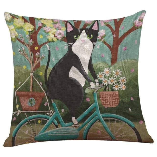 Biker Cat Pillow Case Cushion Cover  Cat Design Pillows Pet Clever A