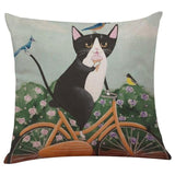 Biker Cat Pillow Case Cushion Cover  Cat Design Pillows Pet Clever K
