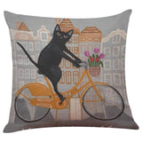 Biker Cat Pillow Case Cushion Cover  Cat Design Pillows Pet Clever G