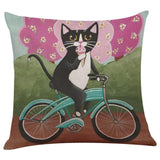 Biker Cat Pillow Case Cushion Cover  Cat Design Pillows Pet Clever E