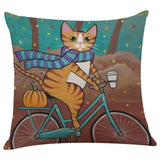 Biker Cat Pillow Case Cushion Cover  Cat Design Pillows Pet Clever F