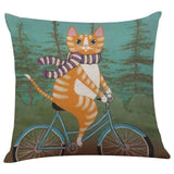Biker Cat Pillow Case Cushion Cover  Cat Design Pillows Pet Clever D