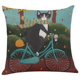 Biker Cat Pillow Case Cushion Cover  Cat Design Pillows Pet Clever J