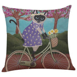 Biker Cat Pillow Case Cushion Cover  Cat Design Pillows Pet Clever I