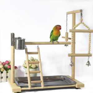 Bird Play Stand Perch with Ladder Feeder Standing Birds Pet Clever