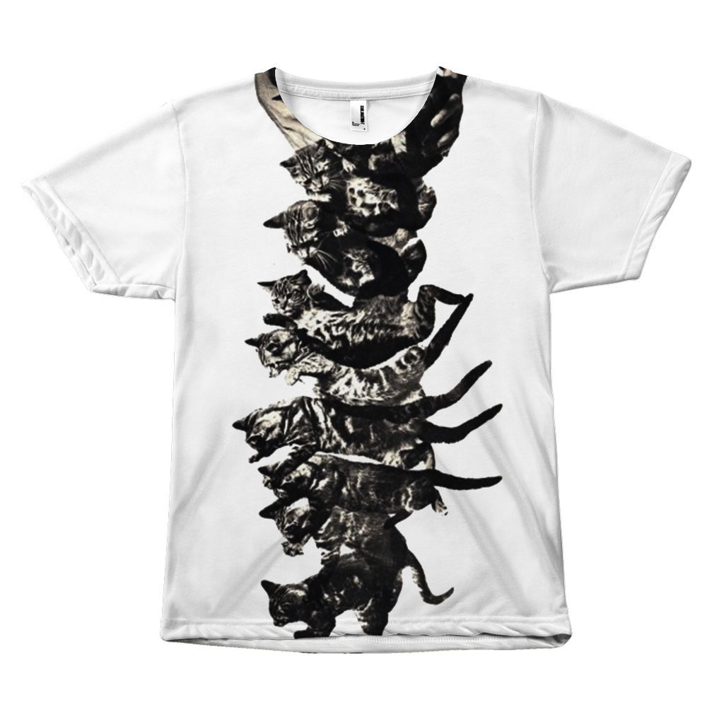 "Black and White ""Falling Cute Cats Design"" T-shirt All Over Print teelaunch Falling Cat S"