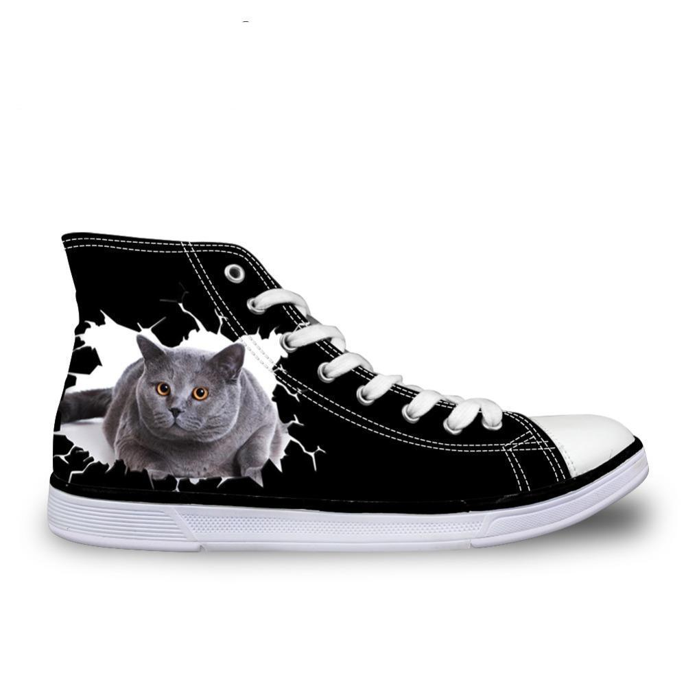 Black Women's 3D Cat Print High-Top Shoe Cat Design Footwear Pet Clever
