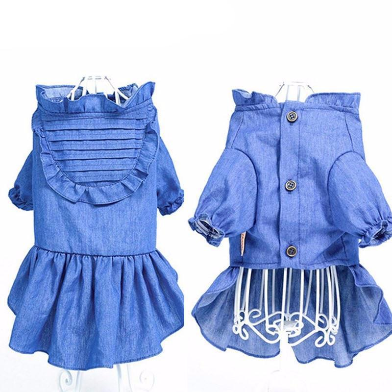 Blue Denim Dog Fashion Dress Dog Clothing Pet Clever