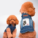 Blue Jean Summer Denim Dog Clothes Dog Clothing Pet Clever Dark Blue S