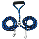 Braided Tangle Free Dual Dog Leash Dog Leads & Collars Pet Clever Blue