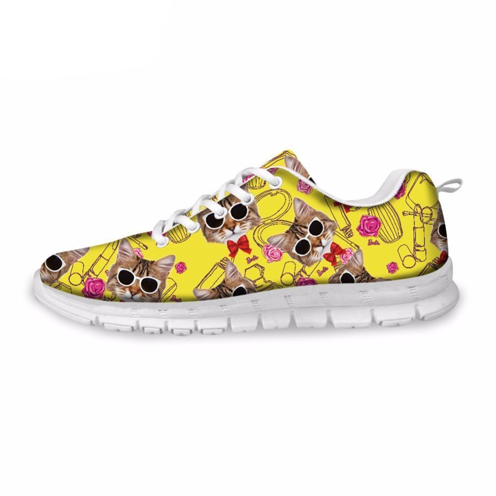 Breathable Yellow Cat Pattern Design Sneaker Shoes Cat Design Footwear Pet Clever US 5 - EU35 -UK3